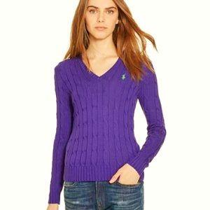 Ralph Lauren purple cableknit v-neck sweater